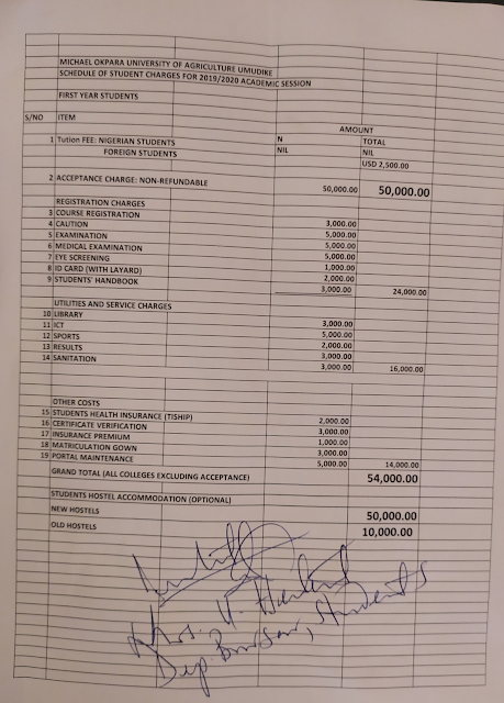 MOUAU School Fees Schedule 2019/2020 | Fresh & Returning Students