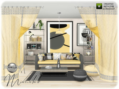 Necass bedroom Mianahob гостиная для The Sims 4 гол отдыха с мягкими или сильными цветами по вашему выбору. Шторы могут упираться в окна. где вы хотите, The Sims проходит через. диван. диванные подушки коврики. 2 мебели. журнальный столик. 2 шторы. торшер. люстра. 2 слойки шерсти. расслабление и хорошее самочувствие Автор: jomsims