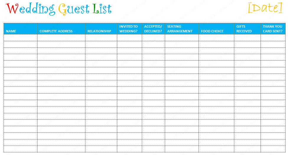 Document Templates: FREE PRINTABLE WEDDING GUEST LIST TEMPLATE