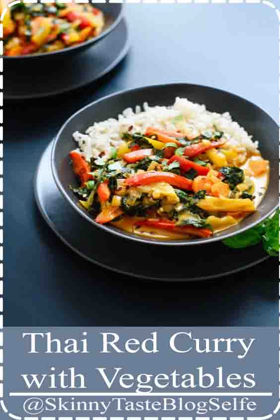 4.9 | ★★★★★ This Thai red curry recipe is so easy to make at home! It's much tastier than takeout and healthier, too. Feel free to change up the vegetables (you'll need about 3 cups total) and skip the kale if you want a more traditional Thai curry. This recipe is vegetarian, vegan and gluten free for all to enjoy. Recipe yields 4 servings #ThaiRed #CurryVegetables #vegetarian  #vegan #gluten