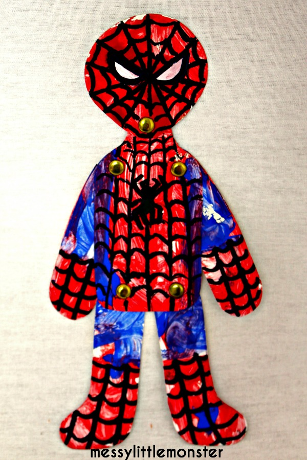 Spiderman activity for kids. Toddler or preschooler superhero craft idea.