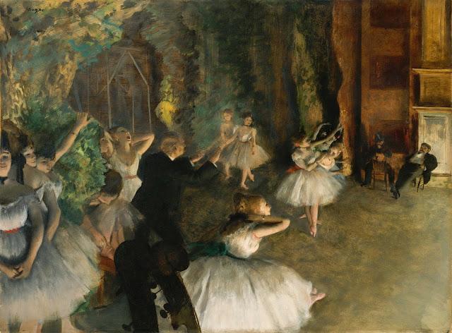 Эдгар Дега - Репетиция балета на сцене (ок.1874)