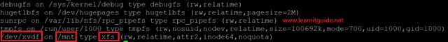 sudo mount command shows linux filesystem