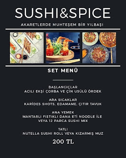 Sushi Spice İstanbul Yılbaşı Programı 2020 Menüsü