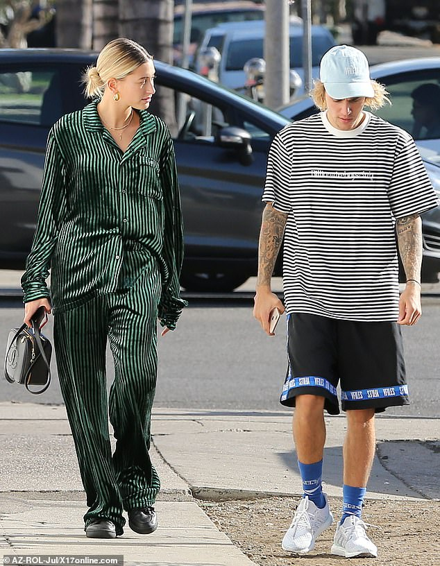 Hailey Baldwin steps out in silky pajamas with 'husband' Justin Bieber