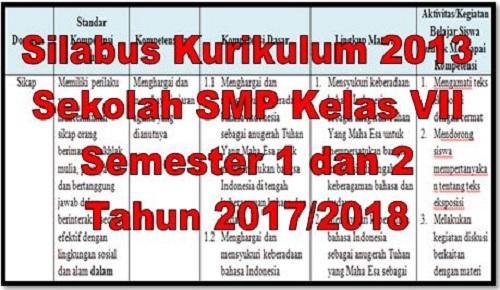 Silabus Kurikulum 2013 Sekolah SMP Kelas VII Semester 1 dan 2 Tahun 2017/2018
