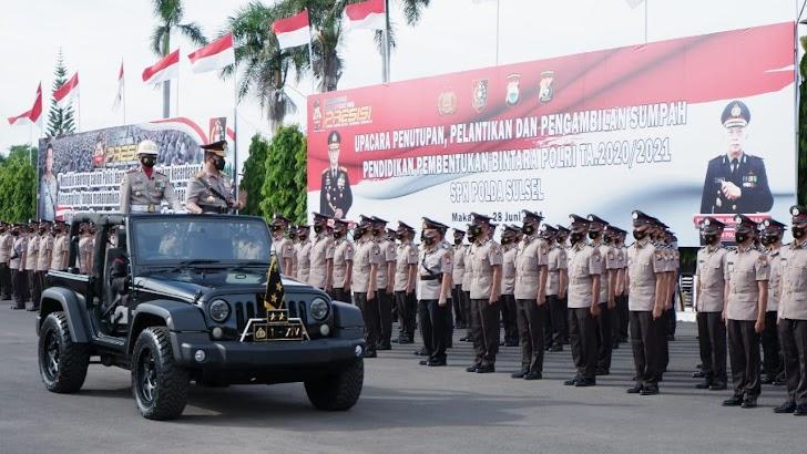 Kapolda Sulsel, Pimpin Upacara Pelantikan dan Pengambilan Sumpah 700 Bintara Polri Angkatan 45 TA. 2020-2021