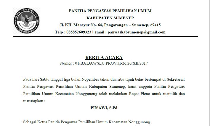 Berita Acara Rapat Pleno Penetapan Ketua Panwascam Nonggunong