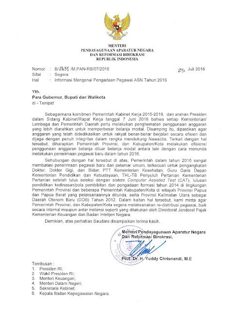 Surat Menteri PANRB Nomor : B/2631/M.PAN-RB/07/2016, Informasi Mengenai Pengadaan Pegawai ASN Tahun 2016