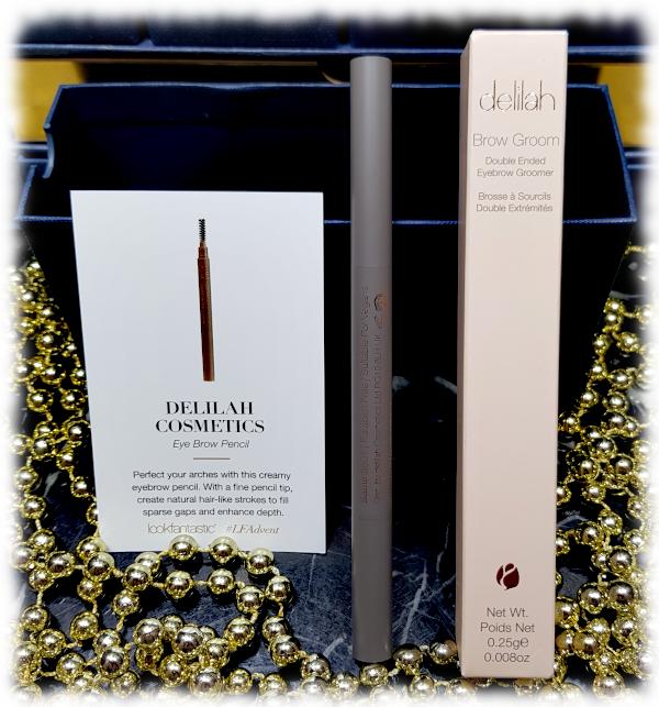 Delilah Cosmetics Eye Brow Pencil, box and card