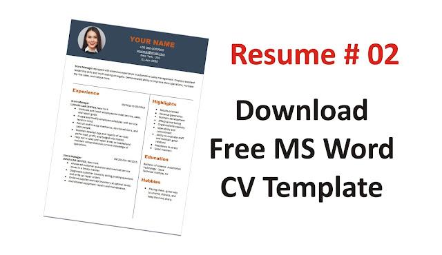 Download Free MS Office CV Resume CV Format -Make a Professional CV