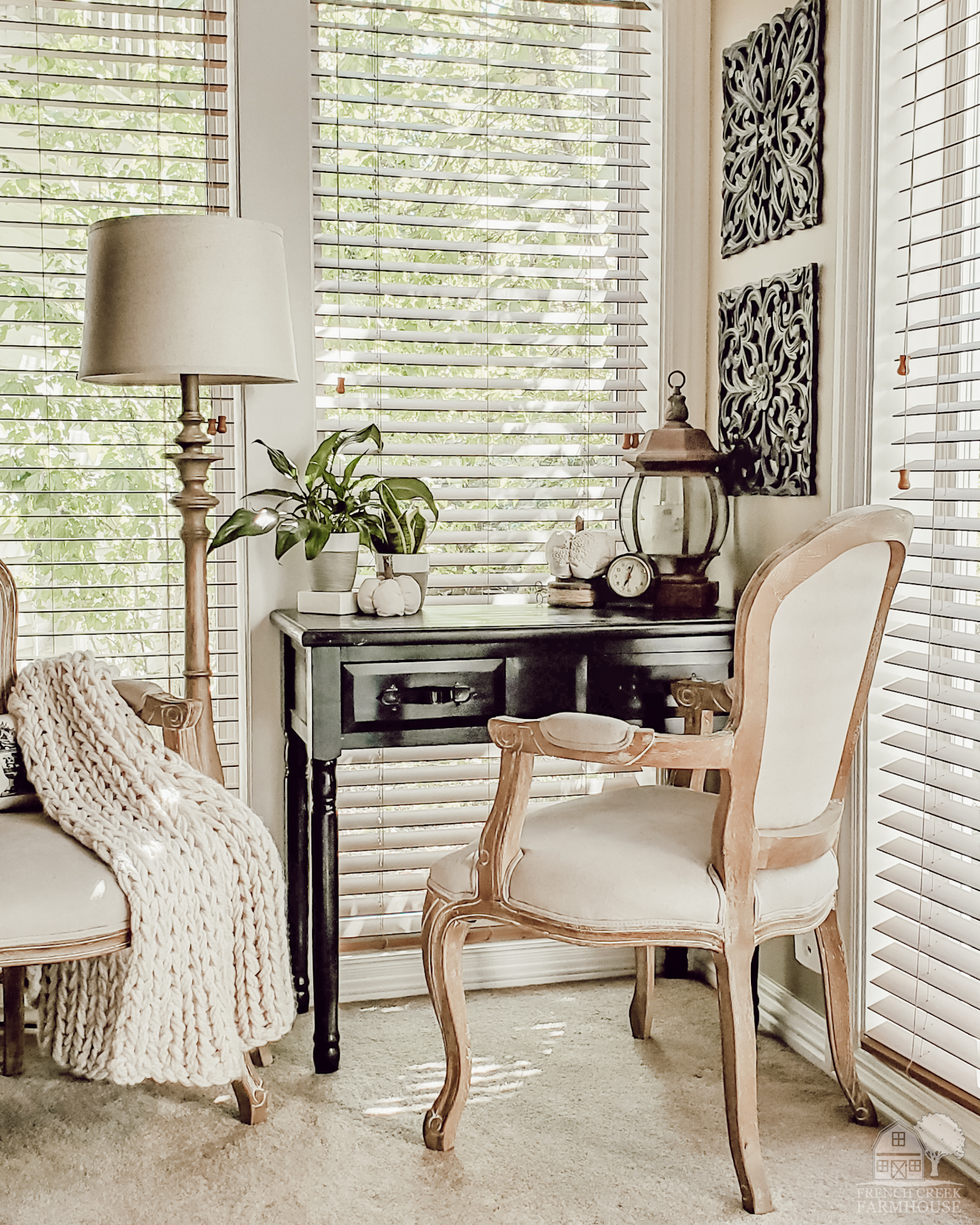 French country farmhouse writing desk decorated with pumpkins for fall