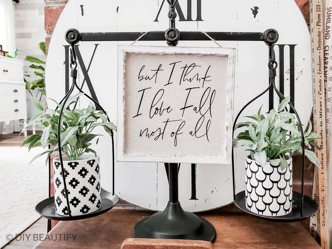 black and white decor with drop cloth sign