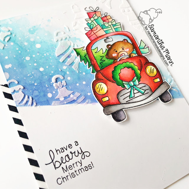 Bear Christmas Card by Samantha Mann | Winston's Home for Christmas Stamp Set and Ornaments Stencil by Newton's Nook Designs #newtonsnook