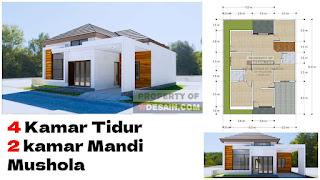Desain Rumah Minimalis 4 Kamar Tidur 1 Mushola