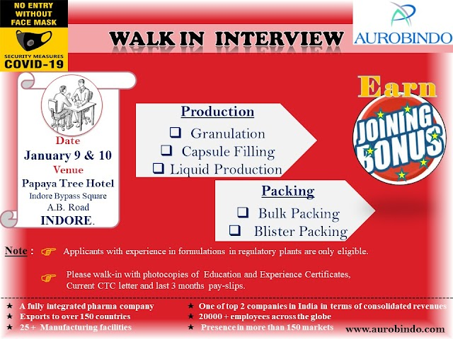 Aurobindo Pharma | Walk-in interview for Production/Packing at Indore on 9 & 10th Jan 2021