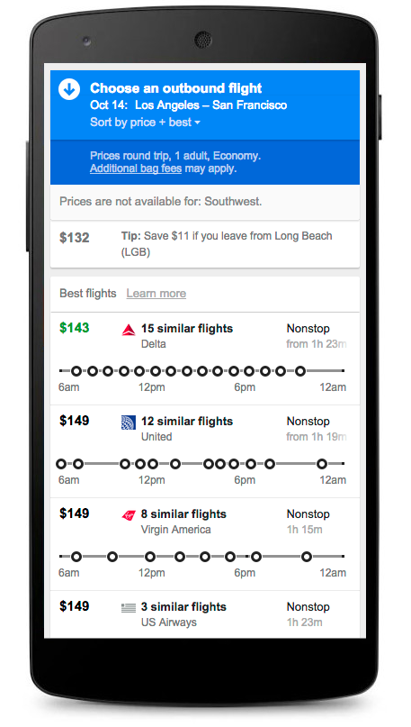 Google makes it easier to shop for flights to popular destinations