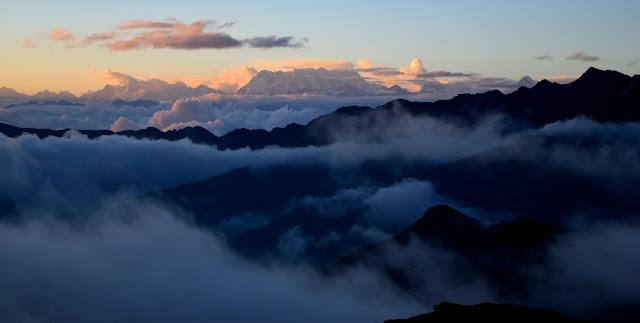 Pic: View of Nanda Gunti and Chowkomba peaks far off distance