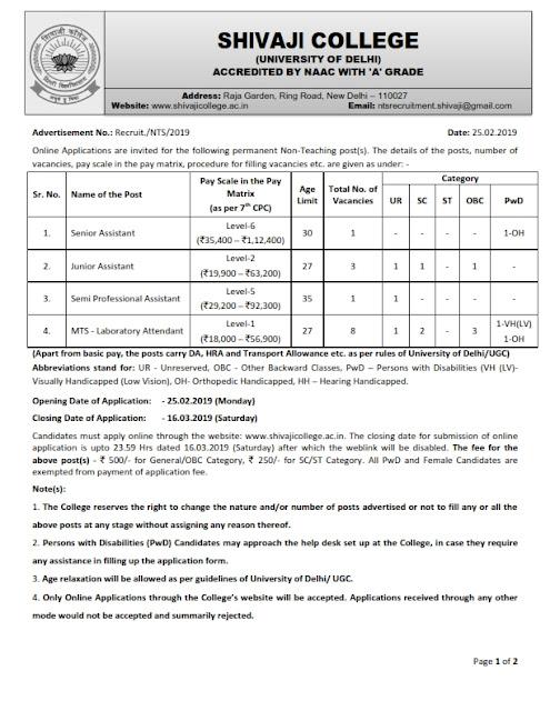 Recruitment of Various 13 Posts in Delhi University, Delhi