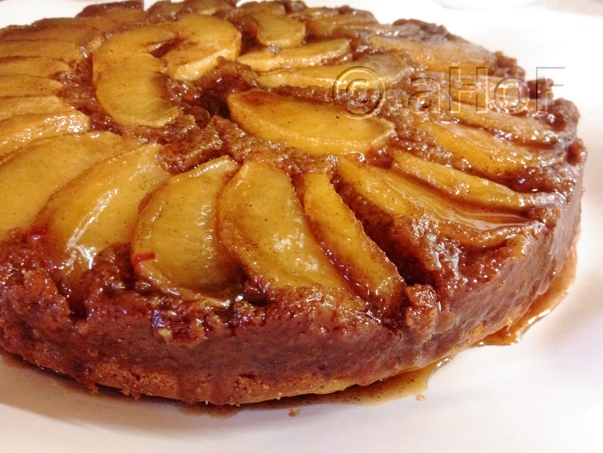 Caramel Apple Upside Down Cake, just turned out onto the plate