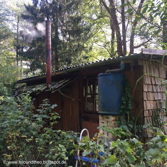Alte Holzhütte mit qualmendem Kamin