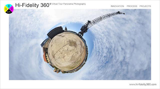 A tiny planet 360 image of a large crane on Cockatoo Island, Sydney Australia.