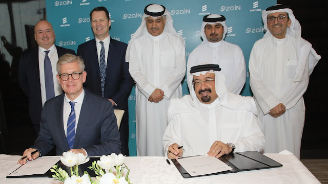Image Attribute: Ericsson President and CEO Borje Ekholm and Zain Bahrain Chairman His Excellency Shaikh Ahmed bin Ali al-Khalifa accompanied by senior Ericsson and Zain Bahrain officials at the contract signing / Source: Ericsson