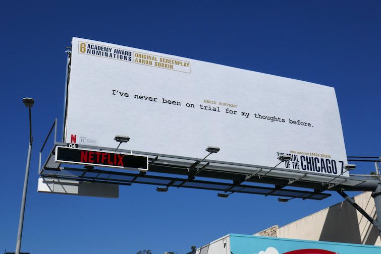 Trial of Chicago 7 Oscar screenplay billboard