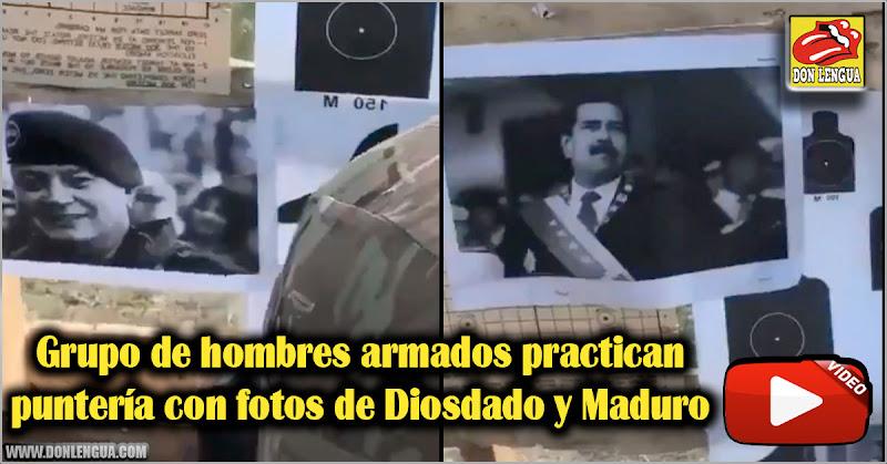 Grupo de hombres armados practican puntería con fotos de Diosdado y Maduro