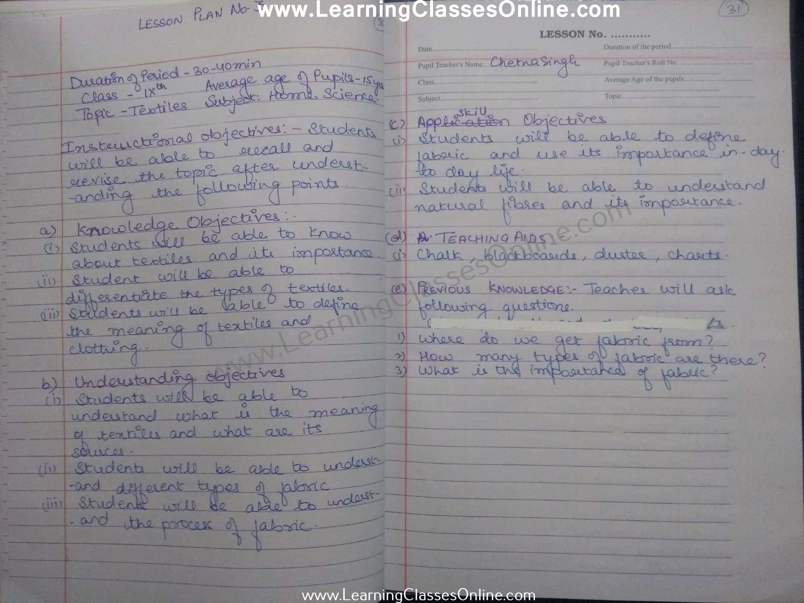 Textiles home science lesson plan in english for class 9th