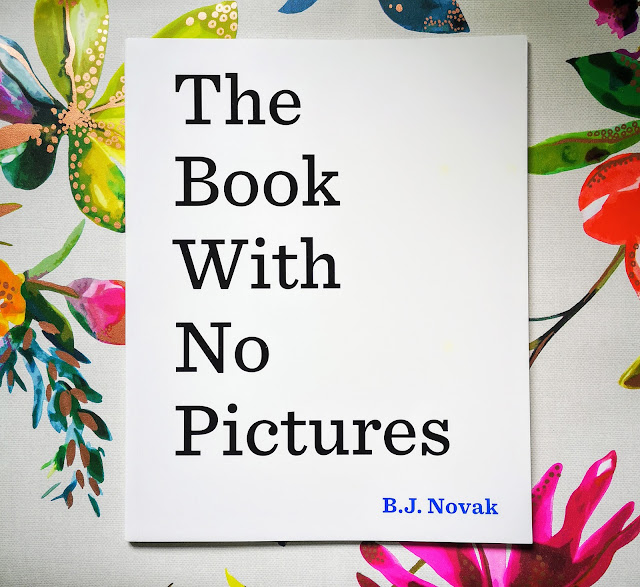 Image of the front cover of The Book With No Pictures By BJ Novak. Front cover is plain white with bold black text. Book is laid on a vibrant floral background.