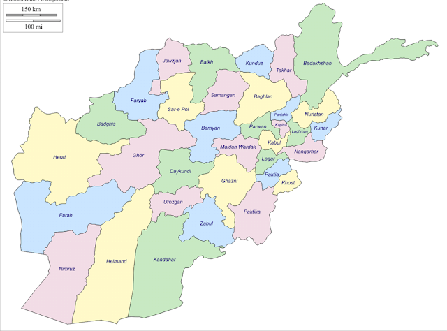 Afghanistan Map Outline with Cities