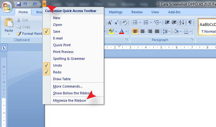 Cara Menampilkan Dan Menyembunyikan Ribbon Di MS Word