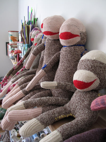 sock monkeys in studio