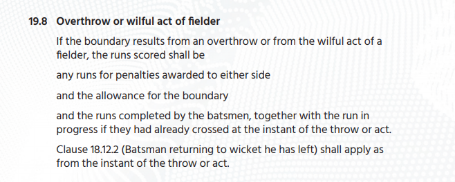 The Lowdown on the Overthrow Problem In the 2019 World Cup Final
