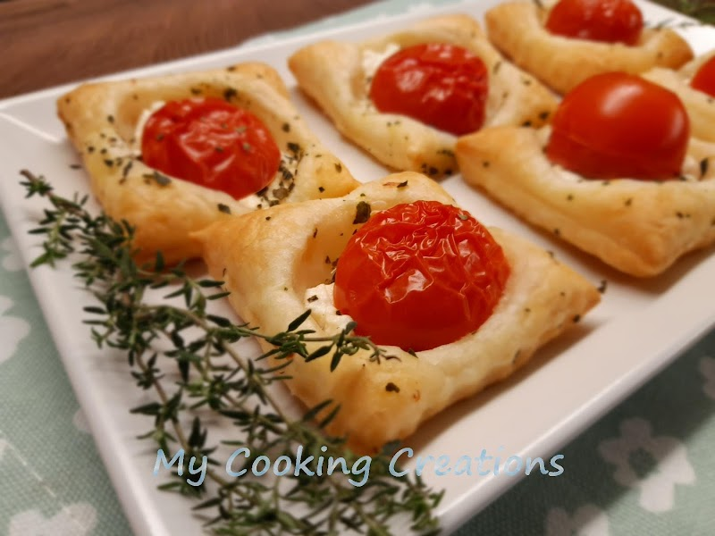Хапки от бутер тесто с рикота и домат * Quadrotti di sfoglia con ricotta e pomodorini
