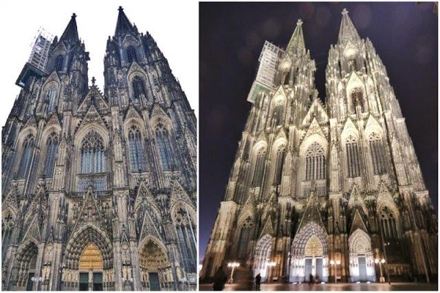 Catedral de Colonia Koln de dia y de noche