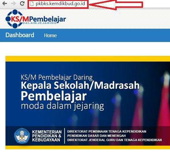 gambar tampilan website Pengembangan Keprofesian Berkelanjutan (PKB) Online kepala Sekolah