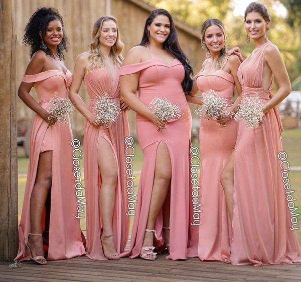 vestido longo rosa blush