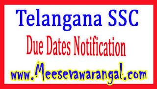 Telangana SSC March 2017 Public Exam Fee Tatkal Due Dates Notification