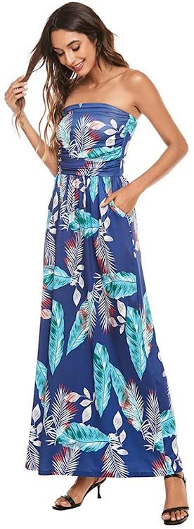 Floral Print Blue Strapless Maxi Dresses