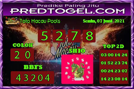 Pred Macau senin 07 juni 2021