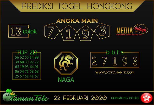 Prediksi Togel HONGKONG TAMAN TOTO 22 FEBRUARY 2020