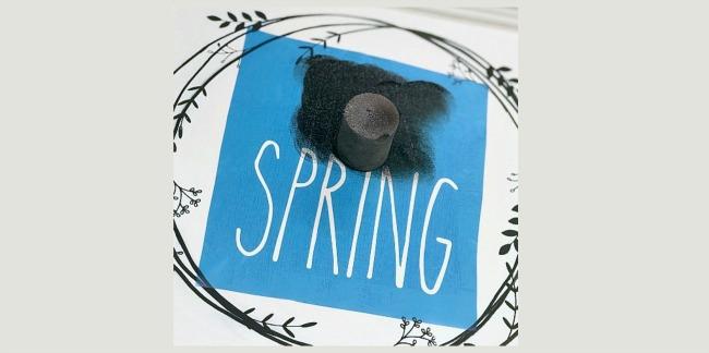 Think Spring Stenciled Wreath Decor