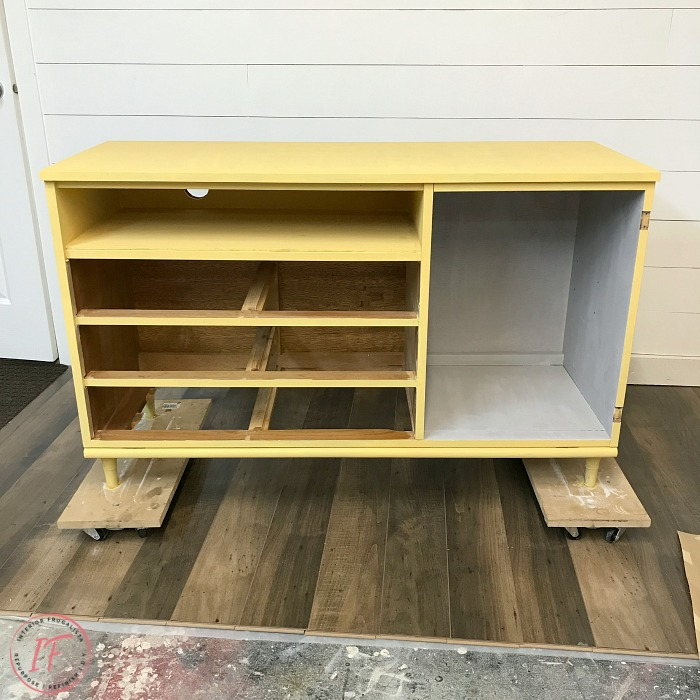 Repurposed Mid Century Cabinet Painted First Coat