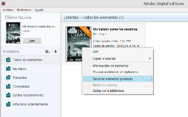 Devolviendo un libro desde Adobe Digital Editions.