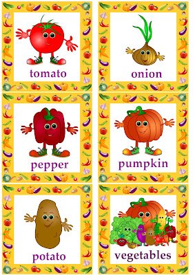 vegetable flashcards for kids learning English