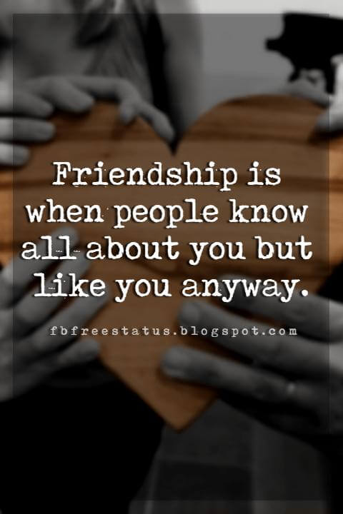friendship relationship quotes, Friendship is when people know all about you but like you anyway.
