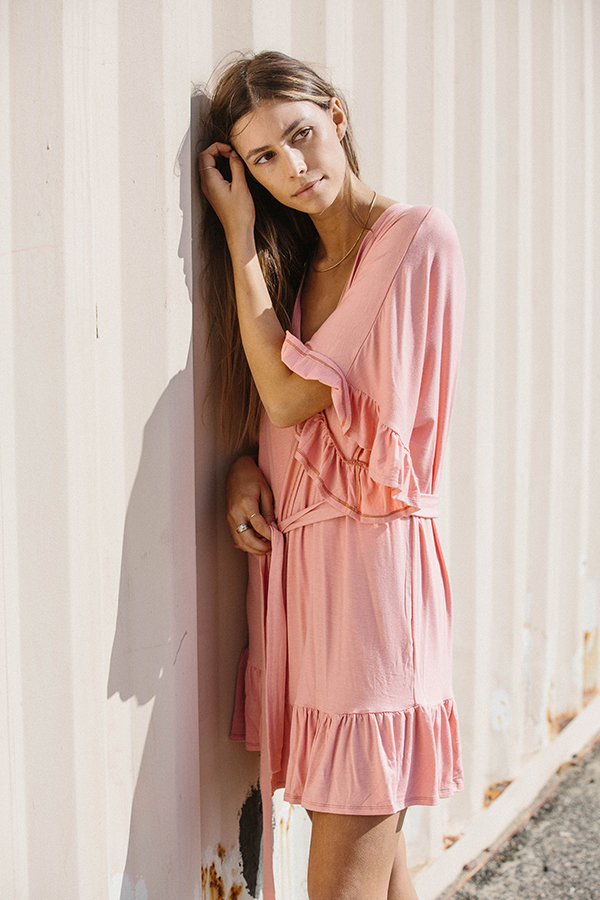 4c7c87854c Our Dollybird Flutter robe is a beautiful solid coral color in a luxe rayon  and spandex blend. Its flirty ruffle hem and ruffle sleeve make this ruffle  robe ...