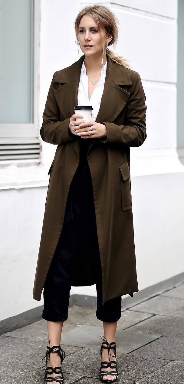 what to wear with a brown coat : shirt + pants + heels
